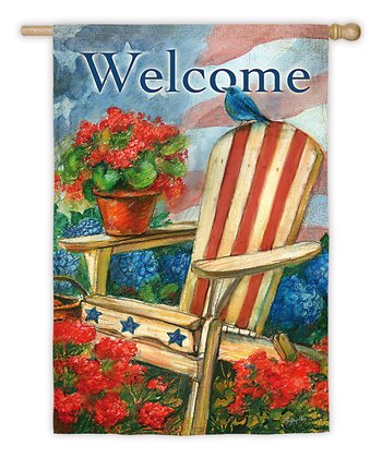Patriotic 'Welcome' Sueded Garden Flag