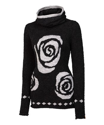 Black Rose Alpaca-Wool Blend Cowl Neck Sweater - Women