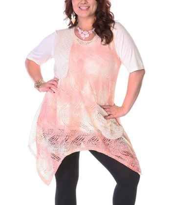 Pink & Cream Crochet Handkerchief Hem Tunic - Plus