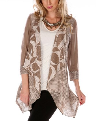 Mocha Geometric Open Cardigan