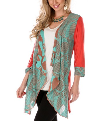 Rust & Mint Geometric Open Cardigan