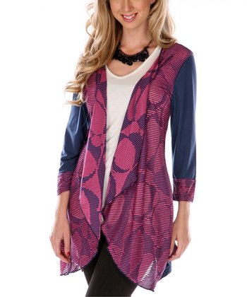 Navy & Magenta Geometric Open Cardigan