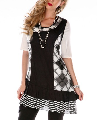 Black & White Argyle Scoop Neck Tunic