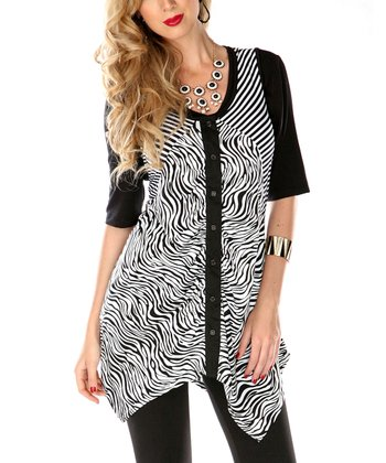 Black & White Zebra Sidetail Top
