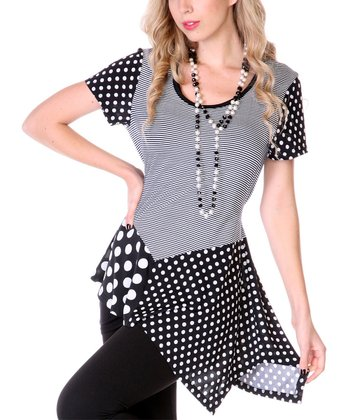 Black & White Polka Dot Asymmetrical Tunic