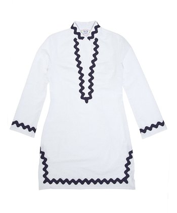 White & Navy Trim Tunic