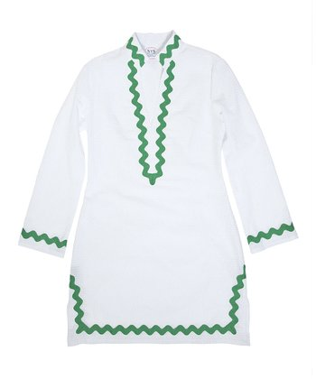 White & Green Trim Tunic