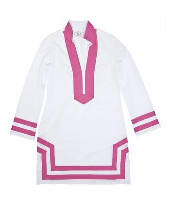 White & Hot Pink Trim Tunic