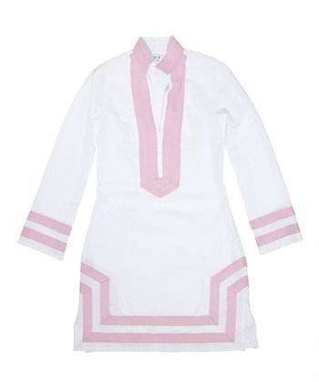 White & Light Pink Trim Tunic