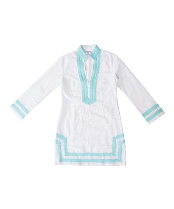White & Aqua Trim Tunic