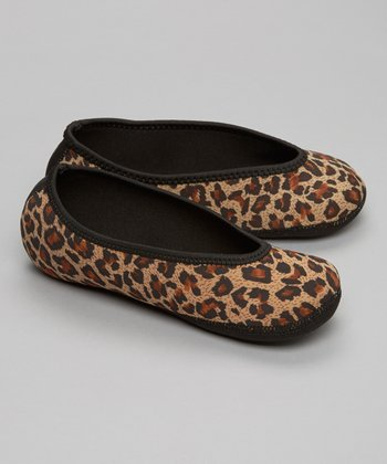 Tan Leopard Ballet Flat Slipper - Women