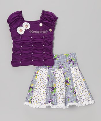 Purple Ruched 'Princess' Tee & Floral Skirt - Toddler & Girls