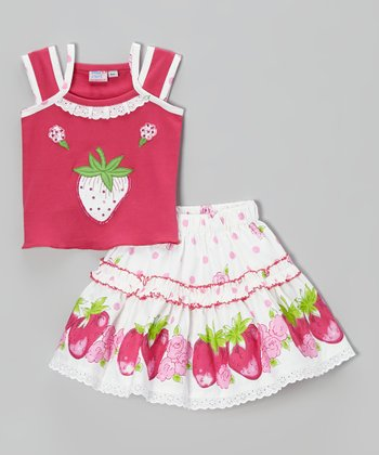 Pink & White Strawberry Tank & Skirt - Infant, Toddler & Girls