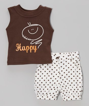 Brown 'Happy' Tank & White Polka Dot Shorts - Toddler & Girls