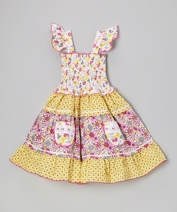 Yellow & Pink Floral Tiered Angel-Sleeve Dress - Toddler & Girls