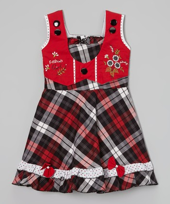 Red & Black Plaid Vest Dress - Toddler & Girls