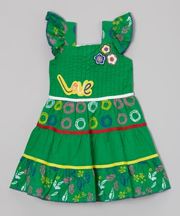 Green 'Love' Floral Tiered Dress - Toddler & Girls