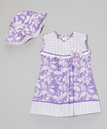 Lavender Polka Dot Floral Dress & Hat - Infant, Toddler & Girls