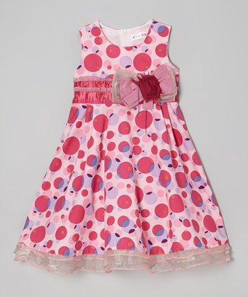 Rose & Pink Polka Dot Dress - Toddler & Girls