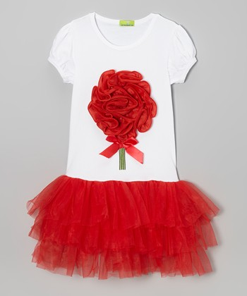 White & Red Rosette Puff-Sleeve Tutu Dress - Toddler & Girls