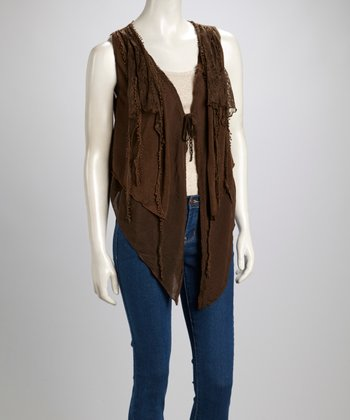 Coffee Lace Linen-Blend Vest