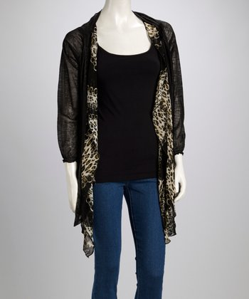 Green & Black Leopard Chain Linen-Blend Open Cardigan