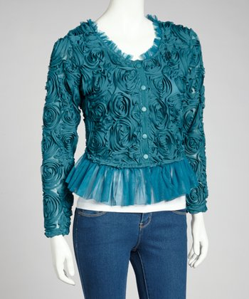 Dark Turquoise Ruffle Linen-Blend Scoop Neck Jacket