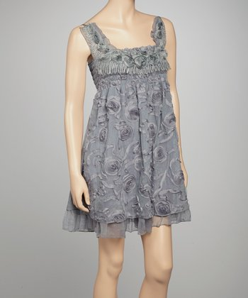 Gray Floral Silk-Blend Dress