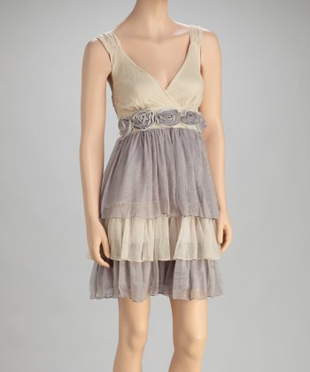Gray & Caramel Tier Silk-Blend Empire-Waist Dress