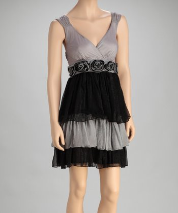 Gray & Black Silk-Blend Empire-Waist Dress