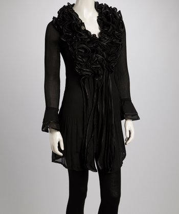 Black Ruffle Silk-Blend Long-Sleeve Tunic