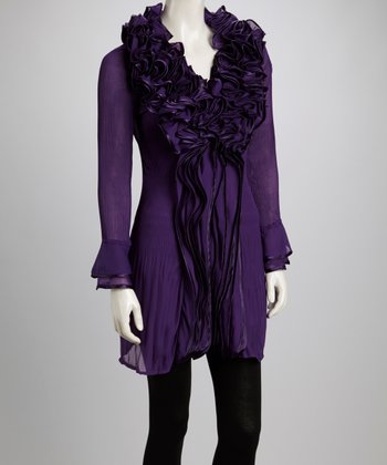 Purple Ruffle Silk-Blend Long-Sleeve Tunic