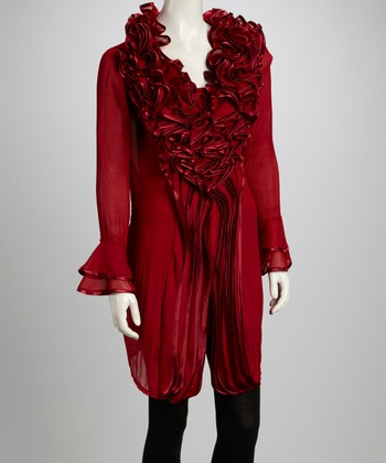 Red Ruffle Silk-Blend Long-Sleeve Tunic