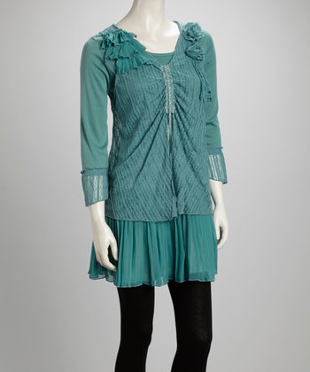Aqua Ruffle Rosette Pleated Linen-Blend Layered Tunic