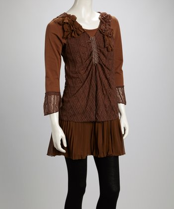 Coffee Ruffle Rosette Pleated Linen-Blend Layered Tunic