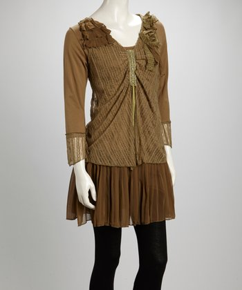 Green Ruffle Rosette Pleated Linen-Blend Layered Tunic