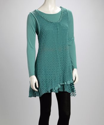 Turquoise Lace Mesh Ruffle Linen-Blend Layered Tunic