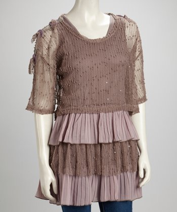 Mauve & Lilac Tiered Linen-Blend Tunic & Crocheted Sweater