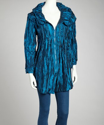 Turquoise Embroidered Silk-Blend Zip-Up Jacket
