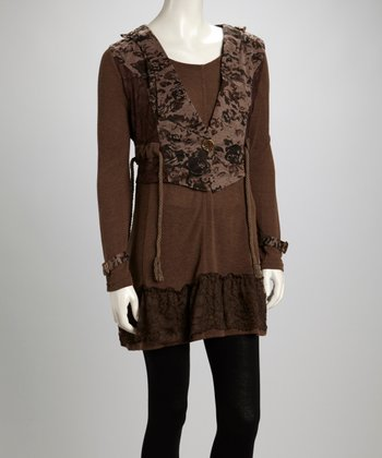 Coffee Floral Lace Linen-Blend Layered Tunic