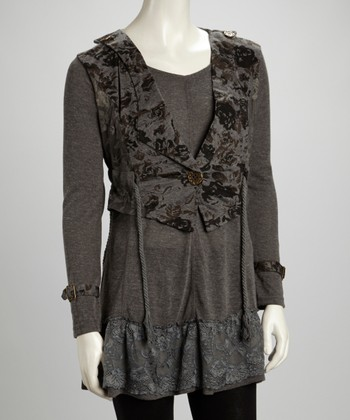 Gray Floral Lace Linen-Blend Layered Tunic