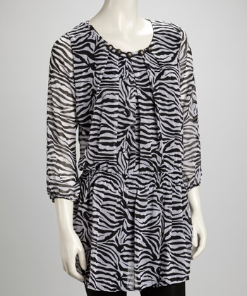 Black & White Zebra Pleated Embellished Silk-Blend Tunic