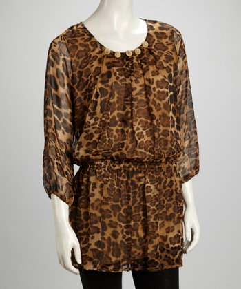 Brown & Black Leopard Pleated Embellished Silk-Blend Tunic