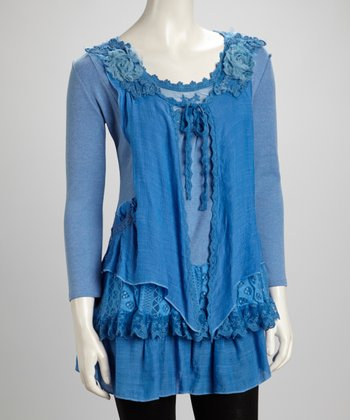 Blue Lace Rosette Tiered Silk-Blend Tunic