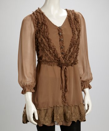 Brown Lace Ruffle Button Silk-Blend Layered Tunic