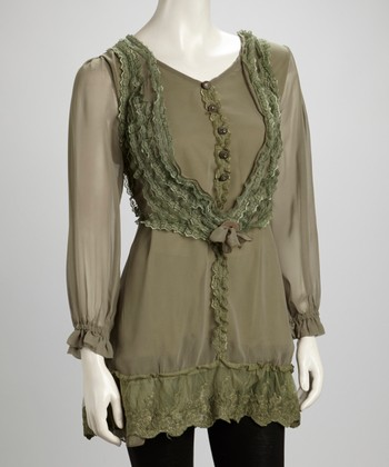 Green Lace Ruffle Button Silk-Blend Layered Tunic
