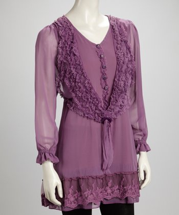 Purple Lace Ruffle Button Silk-Blend Layered Tunic