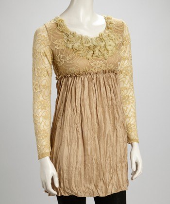 Brown Lace Rosette Pleated Silk-Blend Tunic