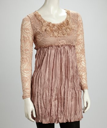 Mauve Lace Rosette Pleated Silk-Blend Tunic