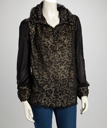Black Leopard Silk-Blend Top